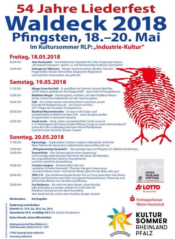 Programmübersicht des Liederfests Burg Waldeck 2018 u.a. mit Jens Kommnick, Falk, Manfred Maurenbrecher, Sarah Lesch, Annett Kuhr, Carsten Langner